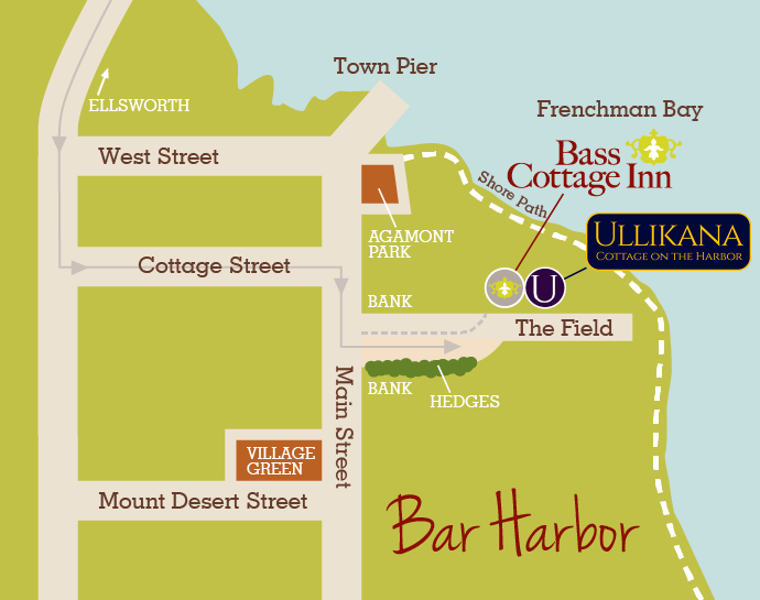 map of downtown Bar Harbor Maine